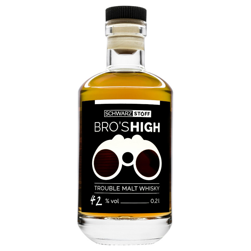 schwarzstoff BRO'S HIGH - Trouble Malt Whisky - BOURBON EDITION, 42 % vol - 0,2 ltr.