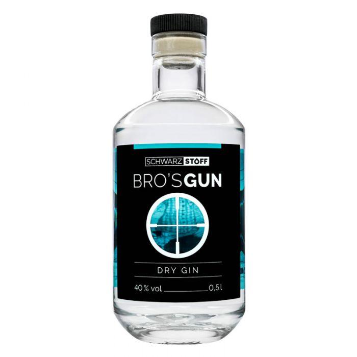 Schwarz Stoff Bro's Gun Dry Gin 0,5l
