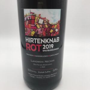 Weinbau-Strobel-Beschorner-Hirtenknab-Rotwein-Spaetburgunder-Etikett
