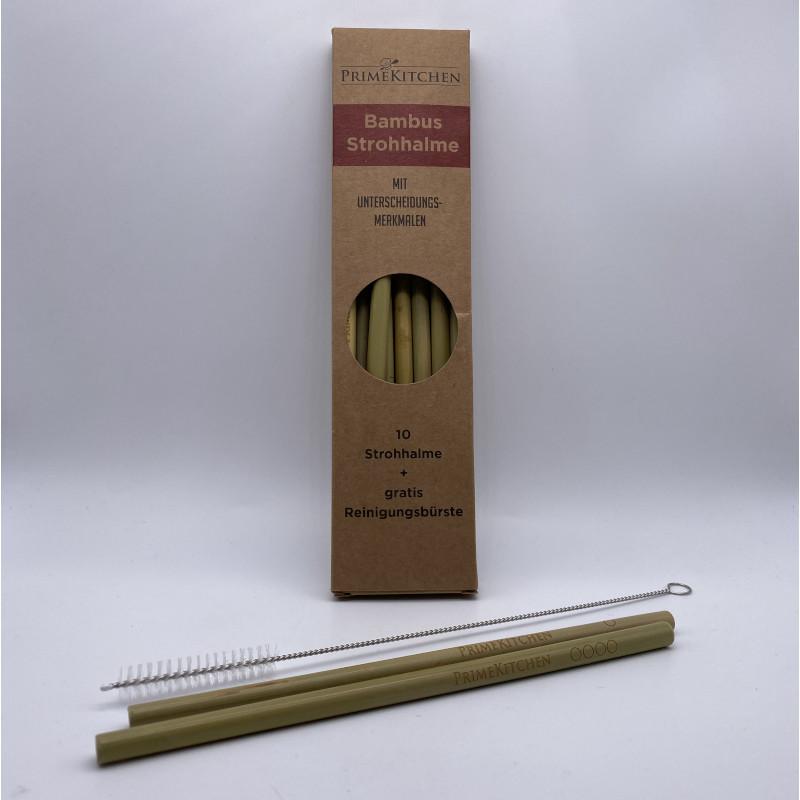 Bambus Strohhalme - 10er Set mit Reinigungsbürstchen