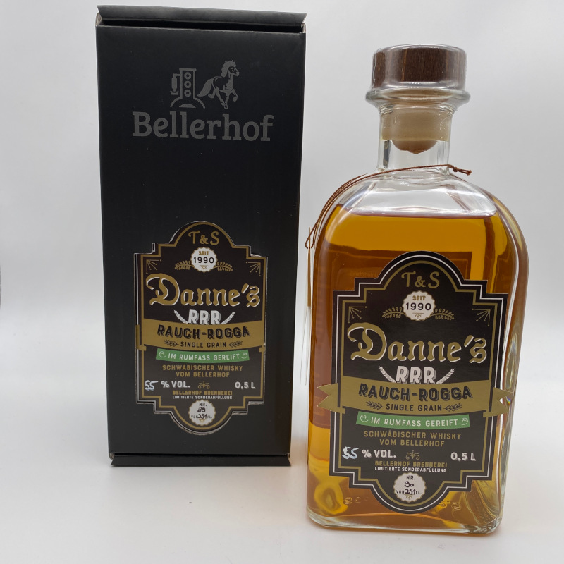 Danne's Rauch-Rogga, Single Grain, Rumfass Finish, FASSSTÄRKE, 55% vol. 0,5ltr.