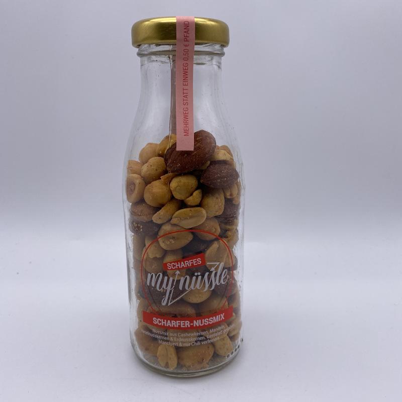 My Nüssle - scharfer Nussmix, in der Mehrweg Pfandflasche, Inhalt 125g