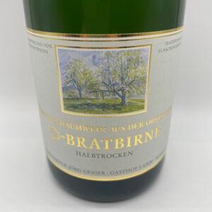 Birnenschaumwein-Champagnerbratbirne-halbtrocken-Etikett