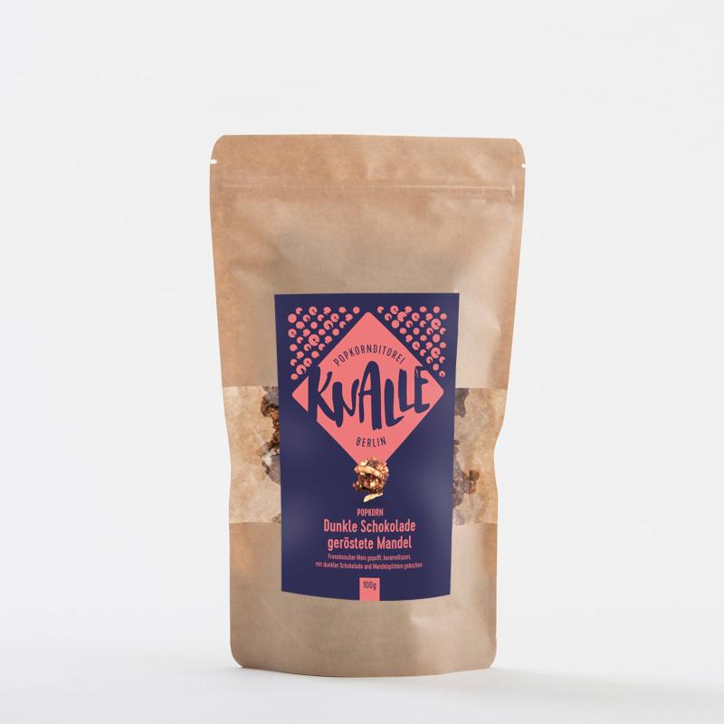 KNALLE Popcorn – Dunkle Schokolade mit gerösteten Mandeln, 50g
